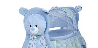 Baybee Baby Comfort Cradle Cot | New Born Baby Swing Cradle with Mosquito Net & Wheel Newborn Bedding Sets/Baby Nursery Bedding Bassinets for Newborn Baby (Blue)