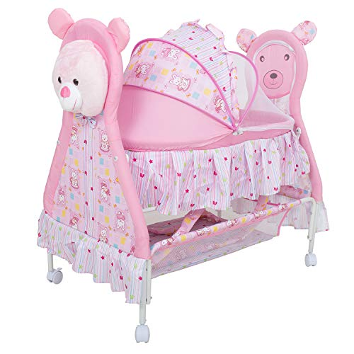Baybee Baby Comfort Cradle Cot | New Born Baby Swing Cradle with Mosquito Net & Wheel Newborn Bedding Sets/Baby Nursery Bedding Bassinets for Newborn Baby (Pink)