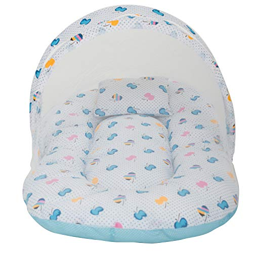 Baybee Cuddle Baby Net Bedding Set with Thick Base, Foldable Mattress, Baby Bed Pillow and Attachable Elastic Closure Mosquito Net Toddler Mattress (0-12 Months, Sky Blue)