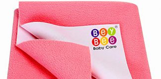 Bey Bee Just Dry Baby Care Waterproof Bed Protector Sheet - Large (Salmon Rose)