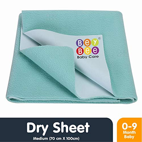 Bey Bee Quick Dry Baby Bed Protector Waterproof Sheet - Medium (Sea Green)
