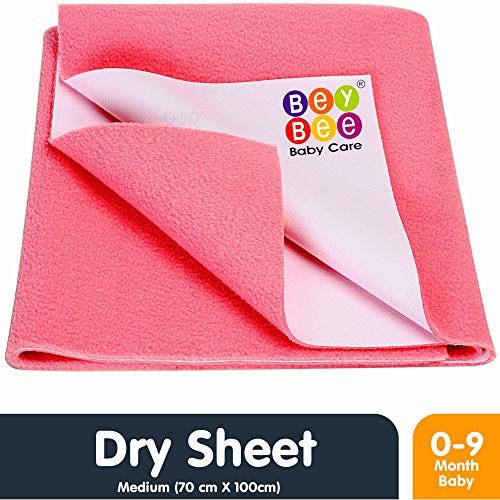 Bey Bee Waterproof Bed Protector Baby Dry Sheet, Medium, Salmon Rose (100 cm x 70 cm)