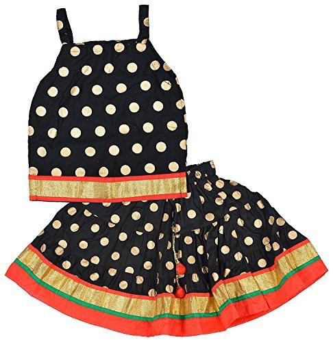 DIAMO Baby Girl's Rayon Heavy Block Print Pattern Border Lace Work Lehenga Choli Set (Black, 12-18 Months)
