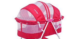Luvlap Sunshine Baby Bassinet with Wheels (Pink)