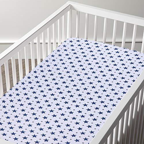 haus & kinder Muslin Cotton Fitted Crib Sheet, Hypoallergenic and Soft Breathable Fabric, Elastic at Bottom, Unisex (Blue)