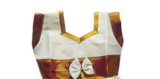 Kaass Collection Baby Girl Silk Frock With Mango Design Color Border (Maroon, 18-24 Months)