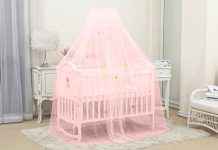 Kiddale Mosquito Net With Stand(3 Position Adjustable Heights) To Fix On Baby Crib, Bed Or Cot (Pink)