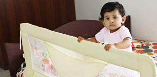 Kurtzy Bed Rail Baby Falling Safety Barrier Protector Fence for Newborn Toddler Kids (Green)