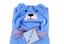 My NewBorn Babys' Fleece Soft Bear Wrapper Blanket Cum Towel Robe with Hood (Blue)
