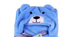 My NewBorn Babys' Fleece Soft Bear Wrapper Blanket Cum Towel Robe with Hood (Blue)