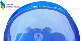 Nagar International Baby Toddler Baby Mattress with Mosquito net and Playgym in Multi coclor New Born to 24 Months Baby (Blue Polyester, 0-6 Months)